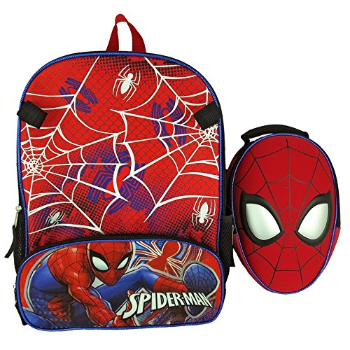 Spiderman Boys School Backpack Lunch Box Book Bag Combo SET ()