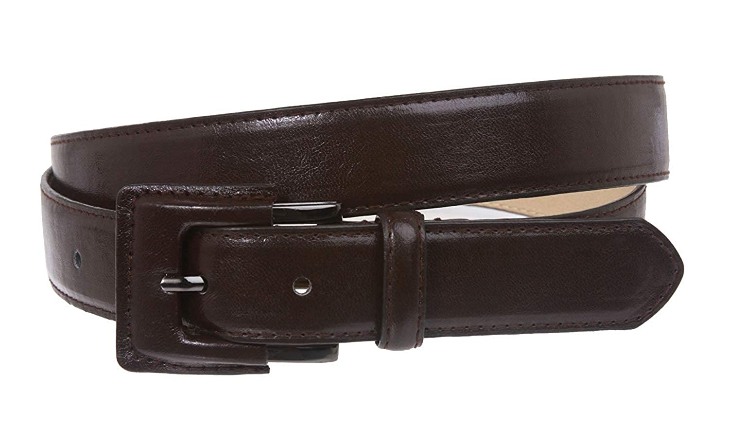 MONIQUE Women Plain Feather Stitching Edged Semi-Covered Buckle 29mm Belt
