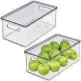 mDesign - Armario de cocina apilable de plástico, caja de almacenamiento de alimentos con asas, tapa, organizador para paquet