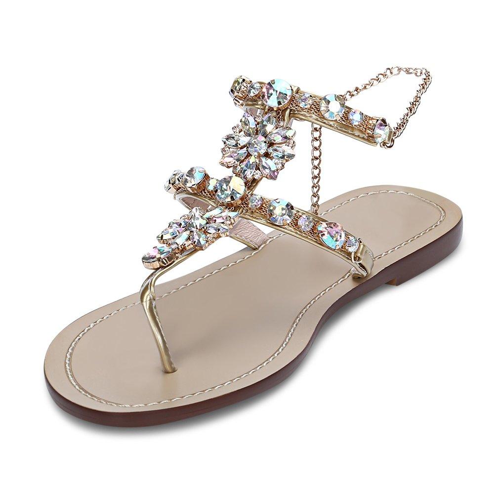Women's Sparkle Bohemian Flip Flops Summer Beach Thong T-Strap Flat Sandals Gold Size 5