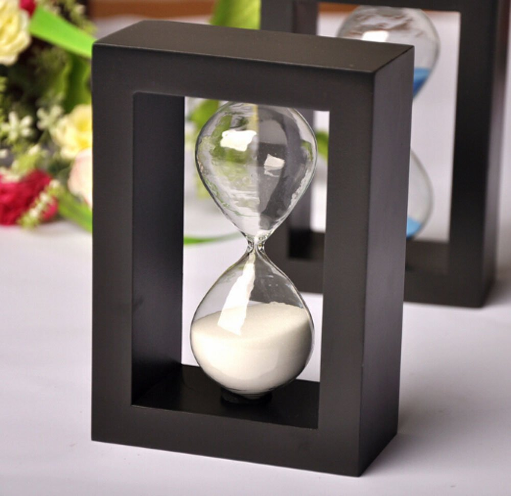 Edeal-YN® Fashion Home Decor ,Office, School and Decorative Use Wood frame 45 Minute Hourglass Glass Sand Timer Sand clock timer for Kitchen (Black Frame White Sand)