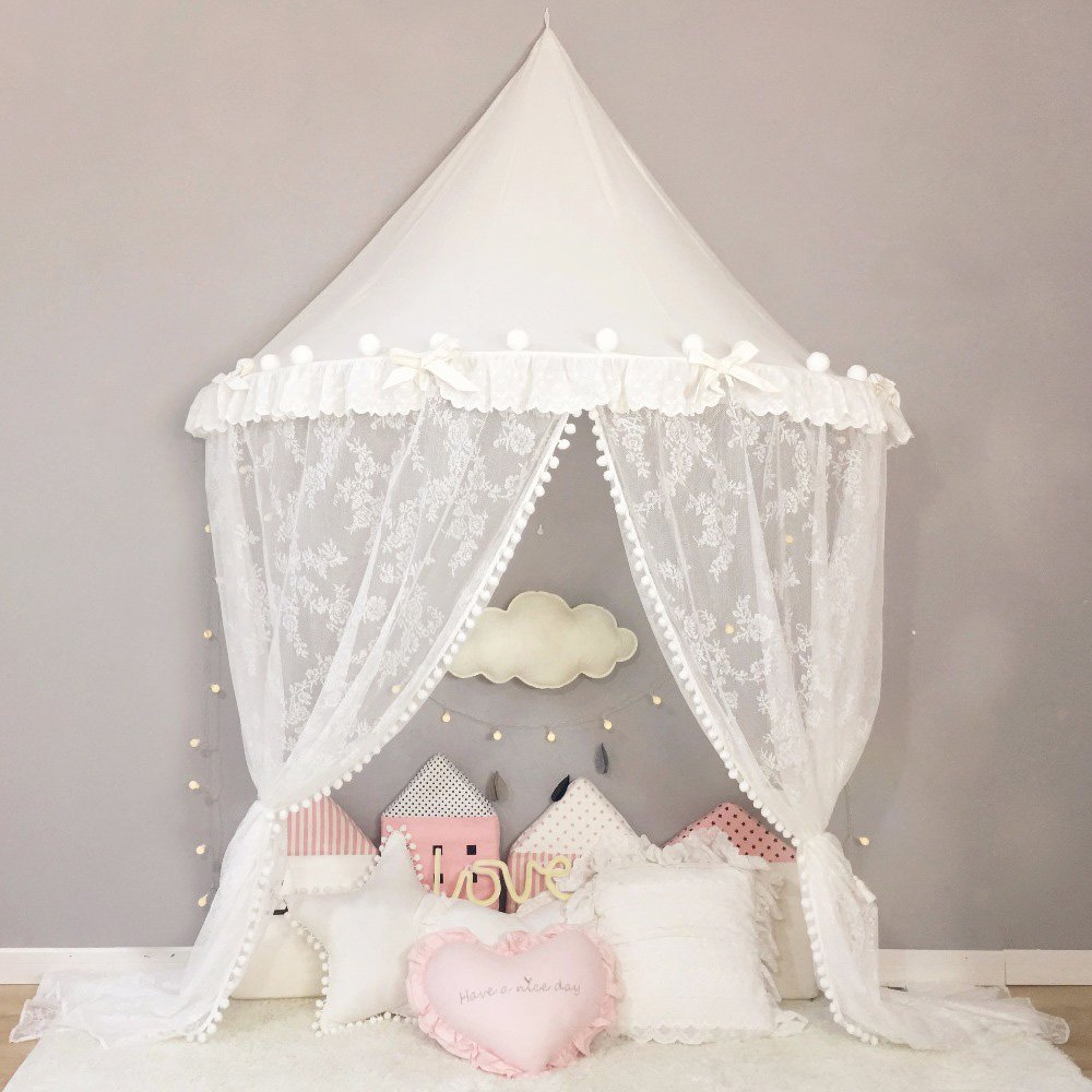 Nordic Ideas Ciel de Lit Baldaquin Tout Blanc avec Le Voilage en Dentelle Baldaquin Rideaux de Lit Enfant Tente de Lit Princesse Moustiquaire de Lit Décoration Chambre Bébé Fille WST