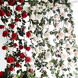 FYYDNZA 180Cm Artificial Rose Flower Ivy Wedding Decoration Real Touch Silk Flowers Chain With Leaves For Home Garland Hanging Decoration 3