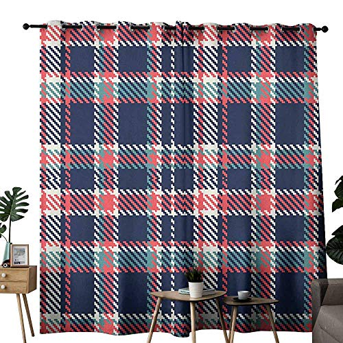 (duommhome Checkered Sliding Curtains Scottish Retro Fashion Vintage Style Abstract Traditional Design Noise Reducing W120 x L96 Indigo Slate Blue Coral)