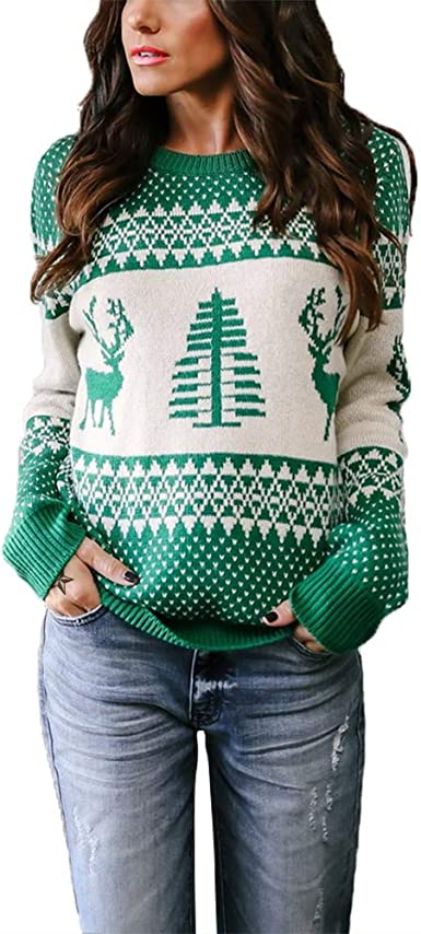 Peace Sign Festive Blocks Ugly Christmas Sweater Dark Green Youth T-Shirt