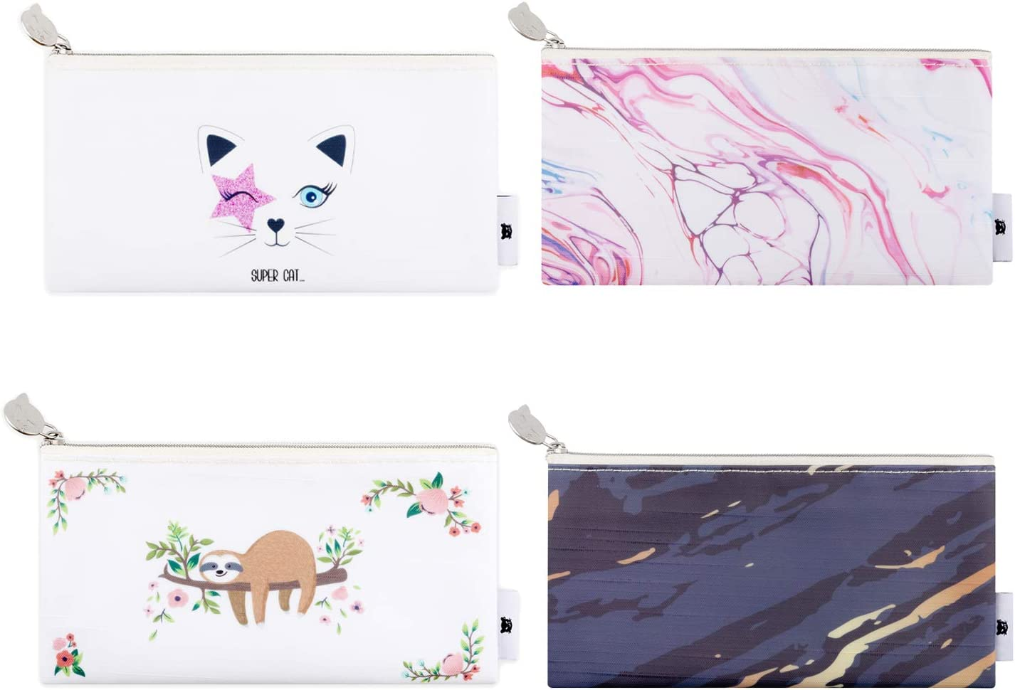Lowkey Cutie Pencil Pouch Pen Case for Office Supplies Cosmetic Makeup and Travel Accessories, Zipper Waterproof Bag for Primary Middle School Girl Boy, Set of 4