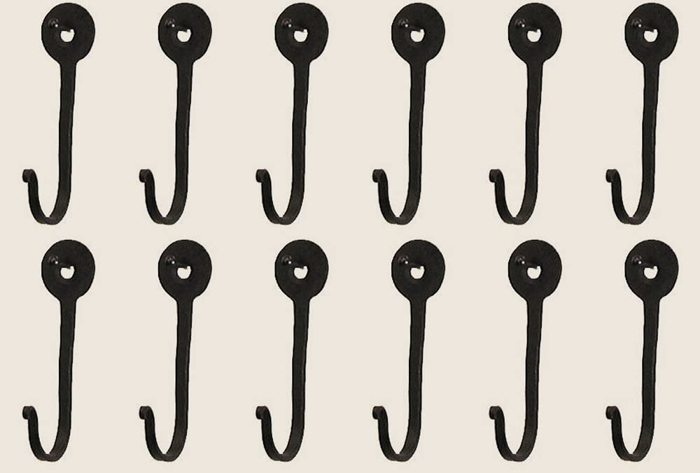 Colonial Tin Works Vintage Hand Forged Iron Classic Early American Horseshoe Nail Hook Black Set of 12