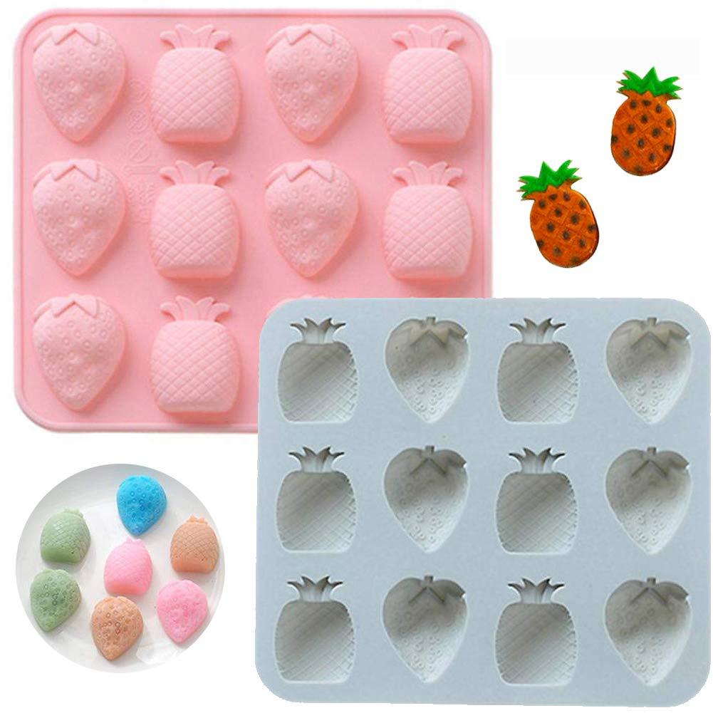 INTVN Moldes Caramelo Silicona Ice Cube Bandejas para Hacer Velas Galletas Chocolate Hielo Moldes Pi/ña Fresa 2 Piezas