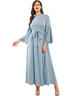 4caff9f21ec Milumia Women s Scalloped Laser Cut Flounce Sleeve Hem Self Belted Maxi  Dress