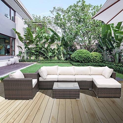 Sectional Cushioned Sofa Sets 7pcs,Low Back All-Weather Rattan Wicker Sectional Sofa with Tea Table&Washable Couch Cushions(W218S00001)