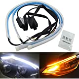 Car Flexible Daytime Running Lights DRL Switchback Headlight Decorative Lamp and Flowing Turn Signal Light Fulintech 2Pcs 45CM 17.72Inches Dual Color ICE Blue//Sequence Yellow LED Strip Tube