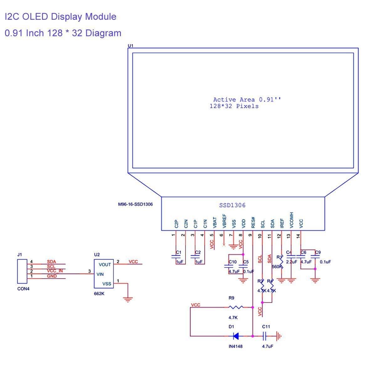 MakerHawk 2pcs I2C OLED Display Module 0 91 Inch I2C SSD1306 OLED Display  Module Blue I2C OLED Screen Driver DC 3 3V~5V for Arduino