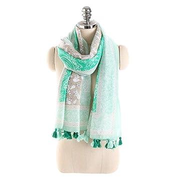 Dhrfyktu Bufandas Primavera y Verano algodón y Lino con Flecos Toalla de Playa Chal para Mujer (Color : Green, Size : 180x90CM): Amazon.es: Hogar