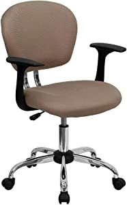 Flash Furniture Mid-Back Coffee Brown Mesh Padded Swivel Task Office Chair with Chrome Base and Arms