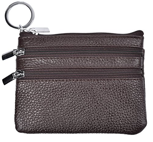 Yeeasy Womens Mini Coin Purse Wallet Genuine Leather Zipper Pouch with Key Ring (Coffee) ()