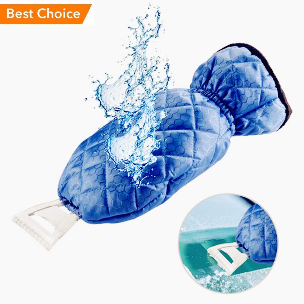 JINJIAN Ice Scraper Mitts for Car Windscreen Scraper with Glove, Waterproof Warming Soft Lined Mitt Thick Fleece Elastic Wristband Window (Blue)