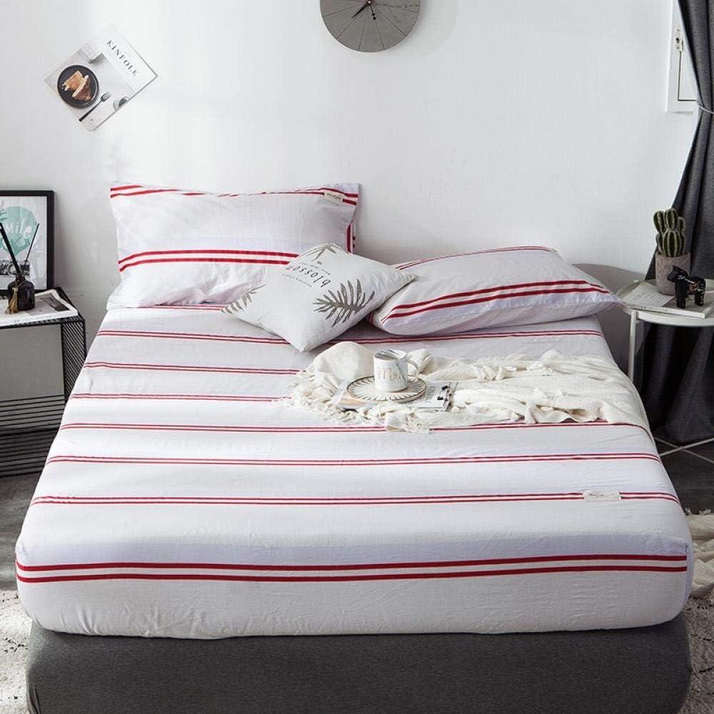 GUANLIDE Sabana encimera Cama,Sábanas Ajustables, Pieza Plana de algodón, Funda de colchón más Profunda para Dormitorio Dormitorio Textiles para el hogar Rayas Rojas Blancas_135 * 200 cm: Amazon.es: Hogar