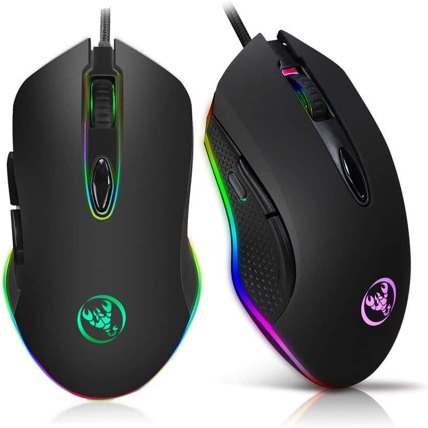 Trissem Cool Mechanical Gaming Mouse Programmable Button /& RGB Breathing Light Wired Mouse Black Color : Black