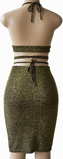 Women's Glitter V Neck Halter Bandage Bodycon Midi Dress