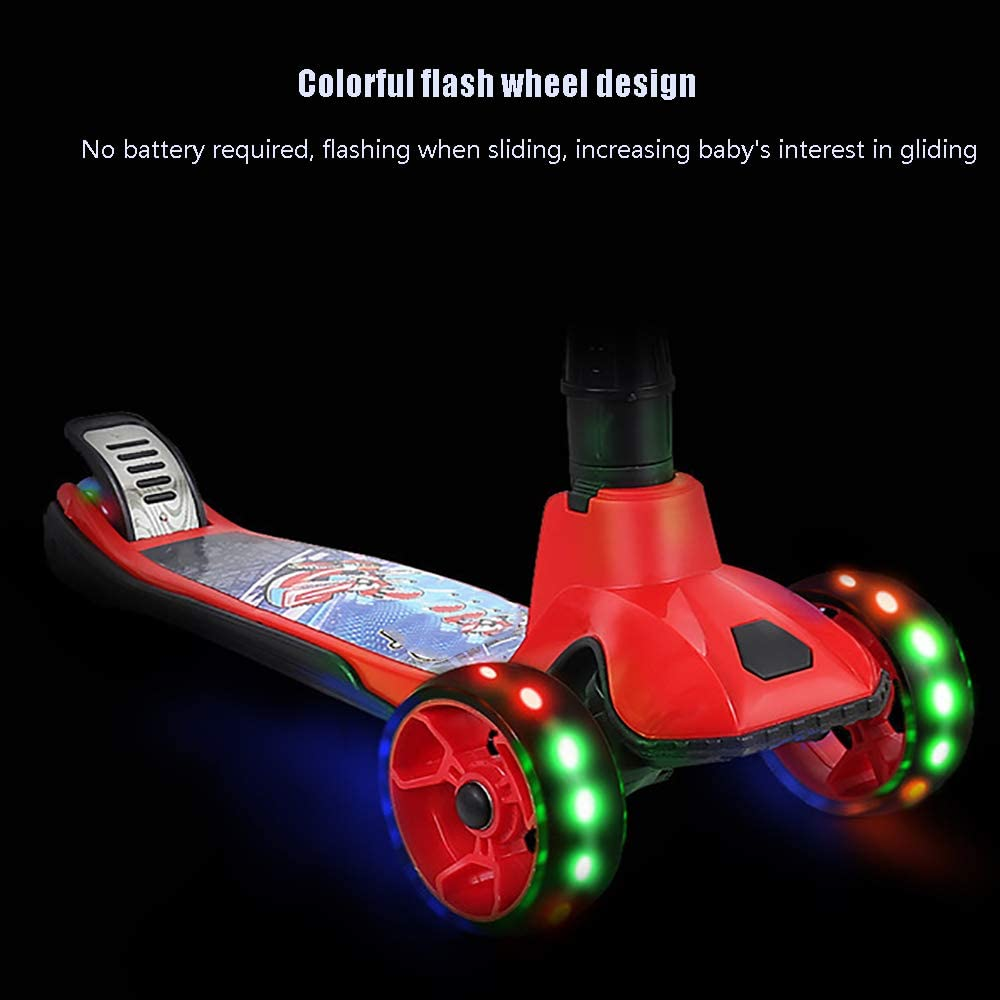 Scooter for Kids PU LED Light Wheels,Best Gifts for Boys Girls Deluxe Kick Scooters 3 Kinds of Adjustable Height 2 Wheels Foldable for Kids 3 Years and up