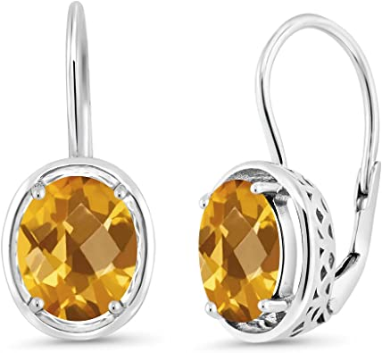 Gem Stone King 1.30 Ct Oval Checkerboard Yellow Citrine 18K Rose Gold Plated Silver Ring