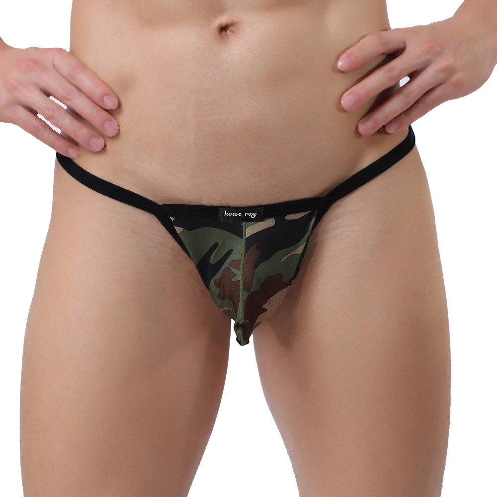 a685555bdcaf Amazon.com: Yezijin Men Camouflage Thong Underwear Sexy Comfortable  Breathable Underpant Briefs: Clothing