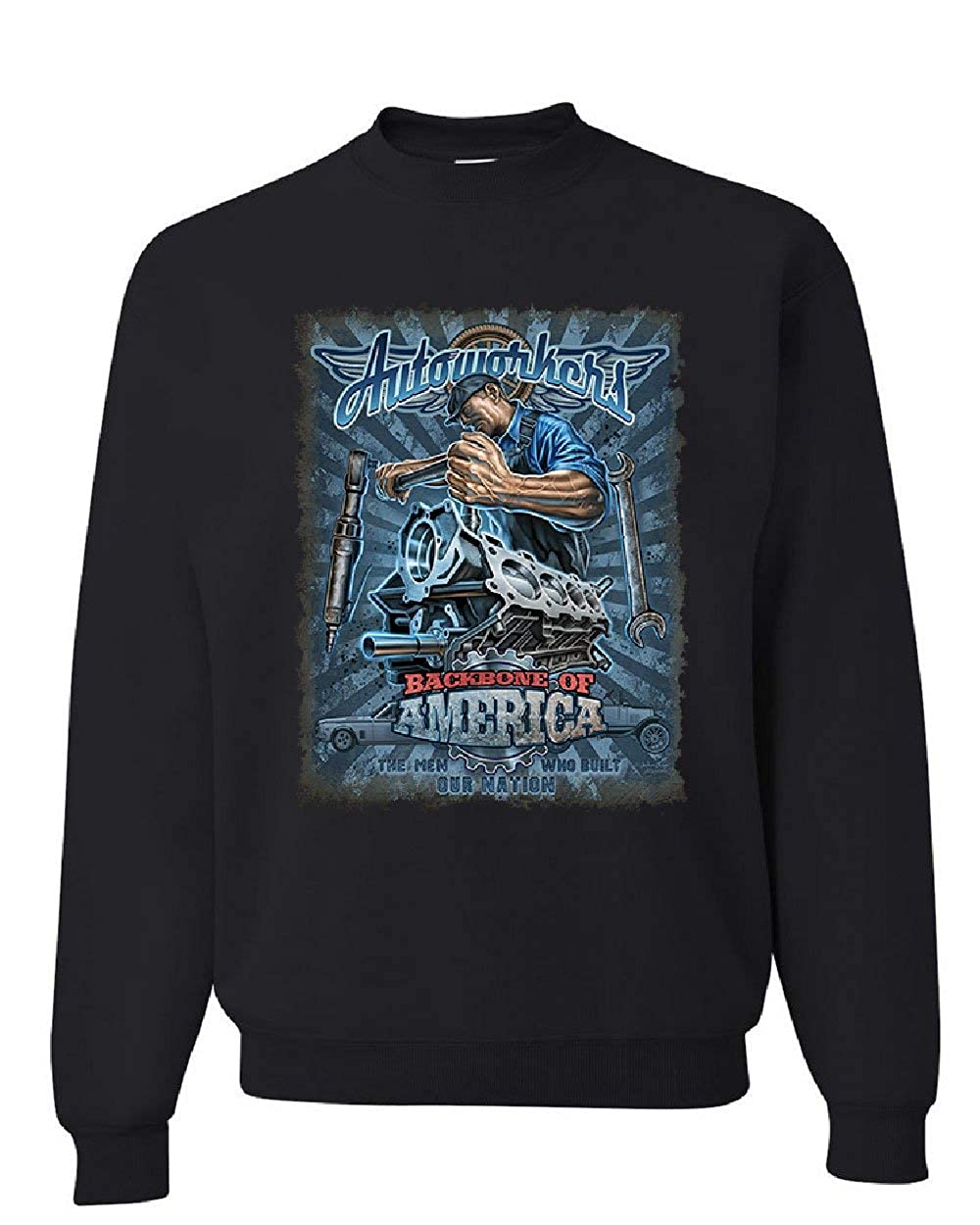 Autoworkers Backbone of America Sweatshirt Car Motor Mechanic Union Sweater
