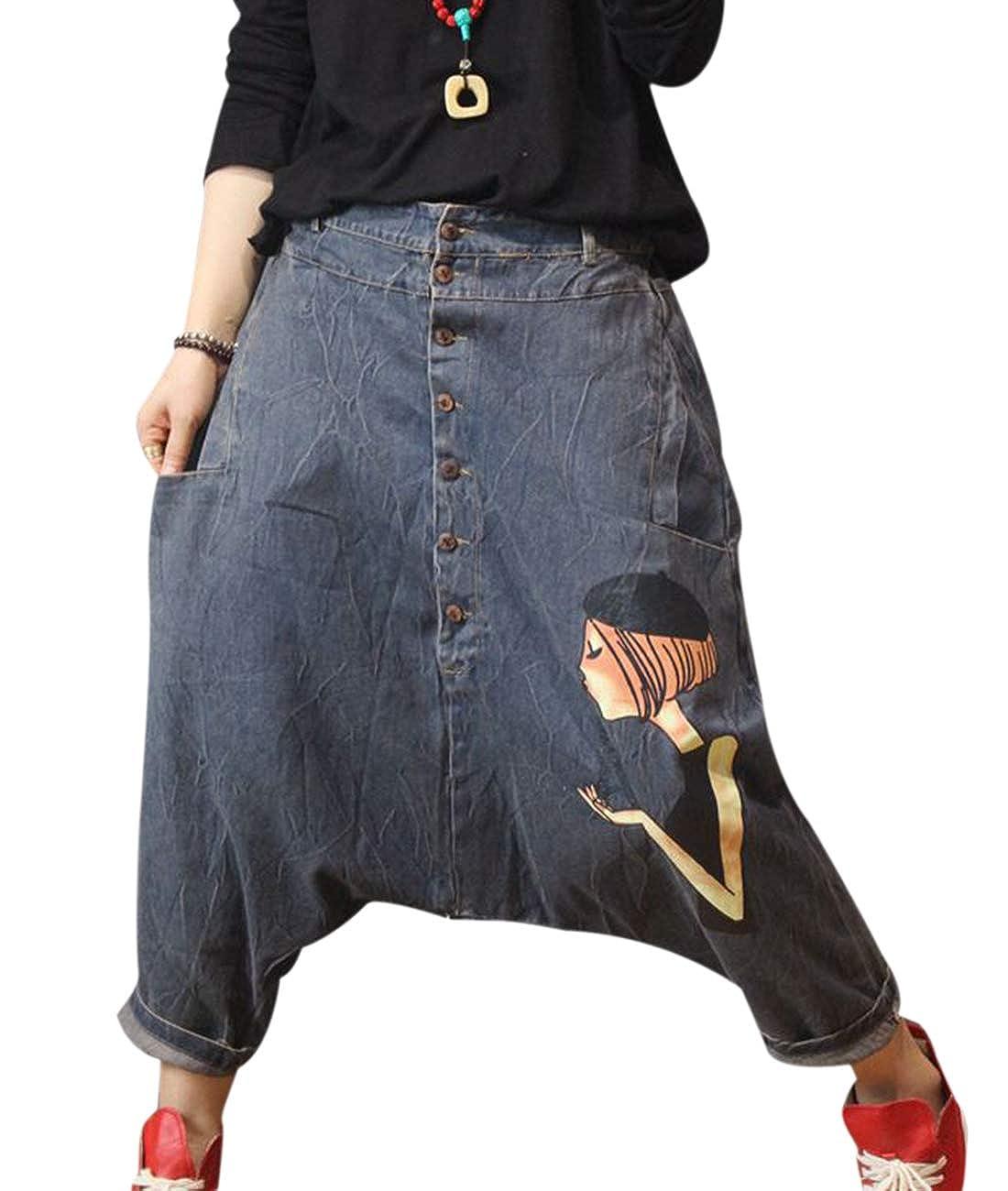 Pdp bluee Yesno J68 Womens 100% Cotton Wide Leg 9' Jeans Pants Casual Loose Fit Elastic Waist