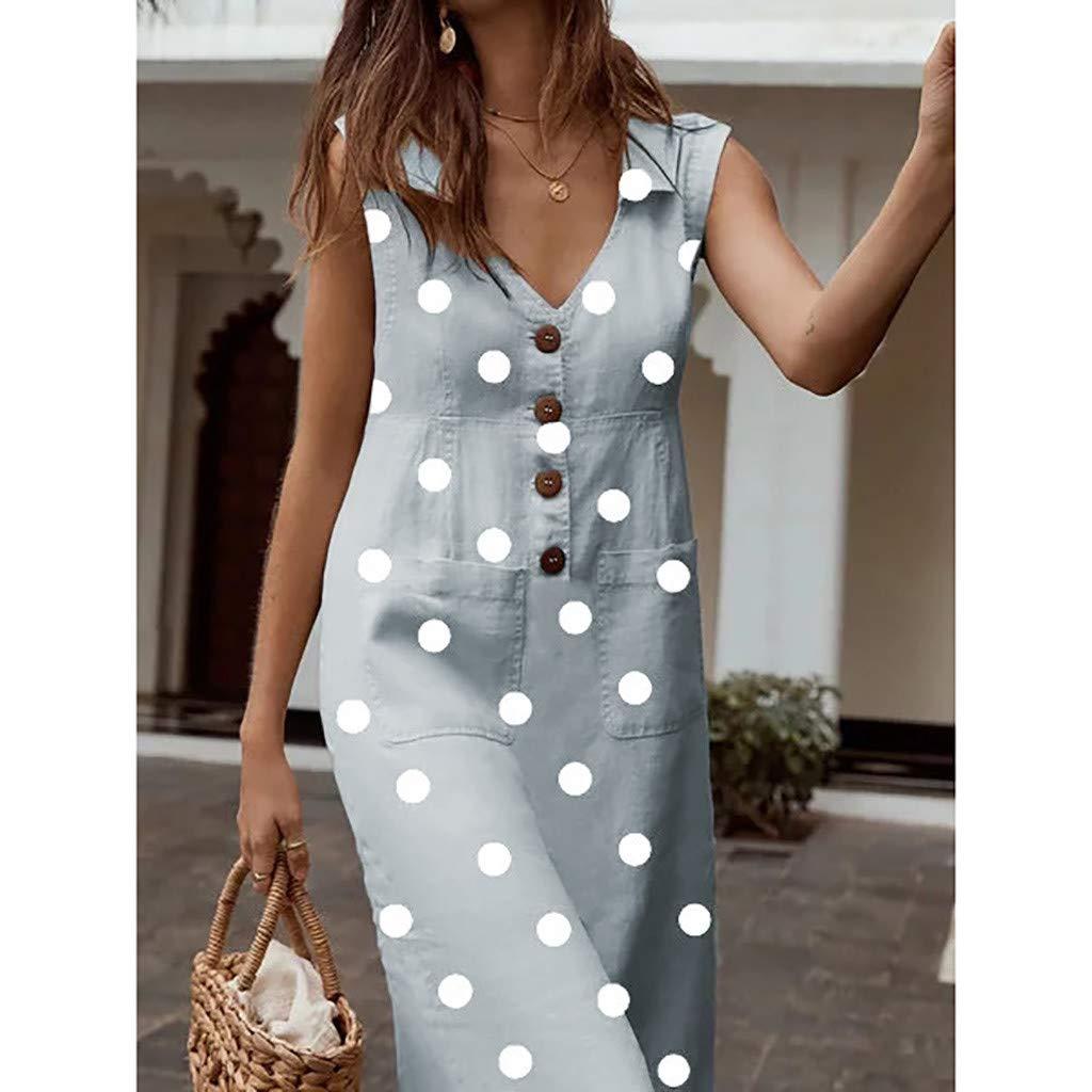 TRENDINAO 2019 New Polka Dots Button Dress Womens Casual Sleeveless V Neck with Pockets Boho Beach Elegant Maxi Dresses