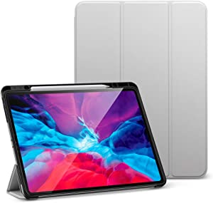 """ESR for iPad Pro 12.9"""" Case 2020 & 2018 with Pencil Holder, Rebound Pencil iPad Case with Soft Flexible TPU Back Cover, Auto Sleep/Wake, and Multiple Viewing Stand Modes - Gray"""