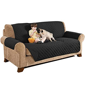 sumuya - Funda Protectora de sofá Reversible de 3 plazas para Perro, Gato, Mascota, Impermeable, Protector de Muebles, Negro, 160 x 200 cm: Amazon.es: Hogar
