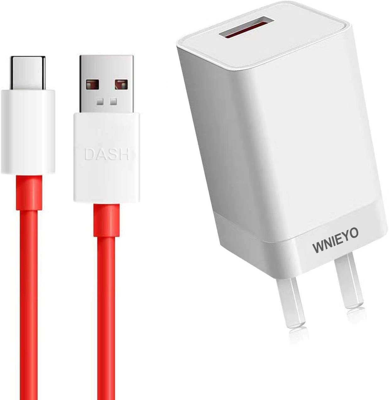 WNIEYO Dash Charger, OnePlus 6T / 6 Charger [5V 4A] + Dash Charging Cable 3.3FT USB C for Quickly Charge of OnePlus 6T / 6 / 5T / 5 / 3T / 3