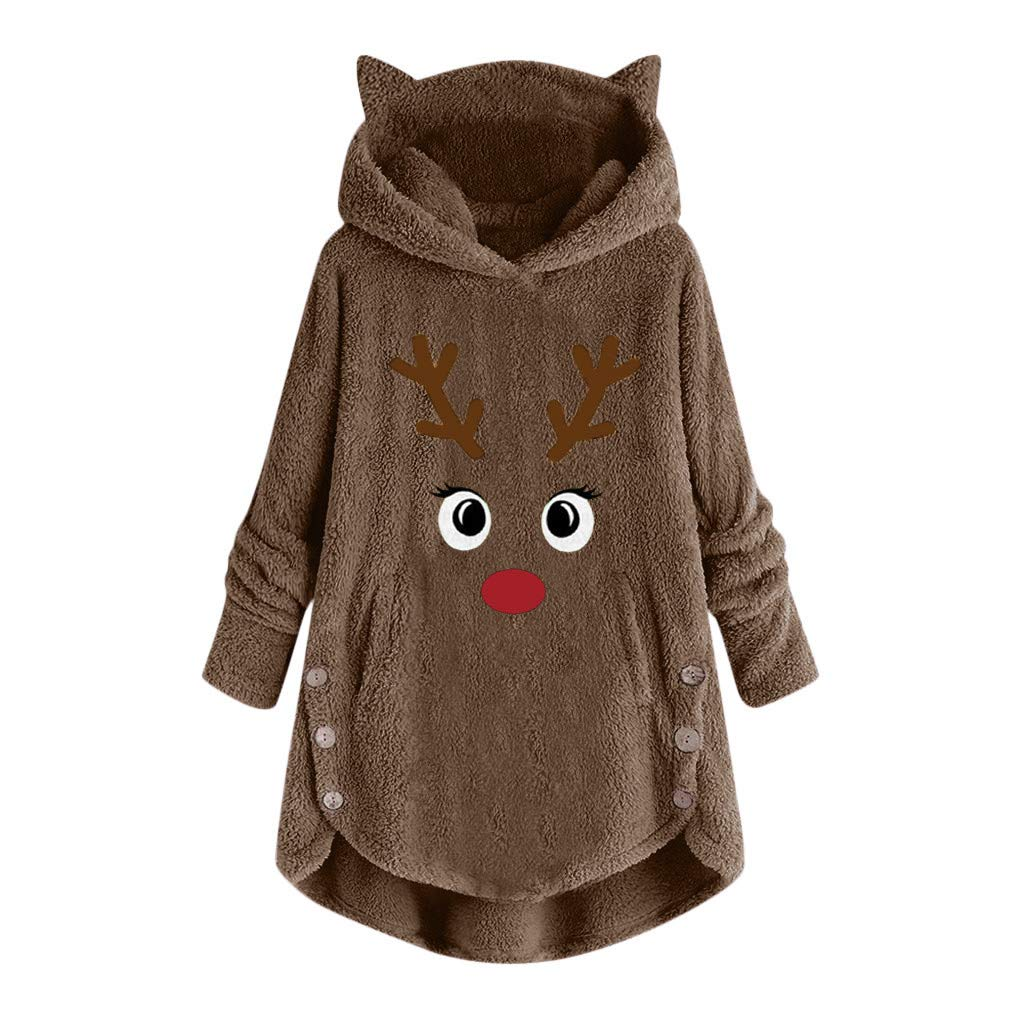 Fammison Women Button Coat Christmas Reindeer Embroidery Pullover Loose Sweater Blouse Plus Size Coffee by Fammison