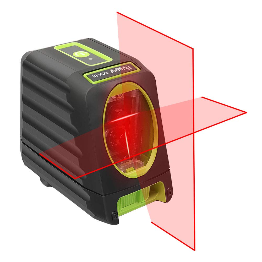 Self-leveling Laser Level - Huepar Box-1R 98ft/30m Red Cross Line Laser Level with Vertical Beam Spread Covers of 150°, Selectable Laser Lines, 360° Magnetic Base and Battery Included
