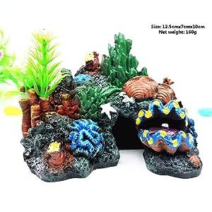 GOTDCO. Exotic Environment Caribbean Living Reef Aquarium Ornament,Large Resin Coral Fish Tank Decoration Fish Hide-Away Mountain Retro Rockery Crafts Landscaping Aquarium Decoration (Multicolor)