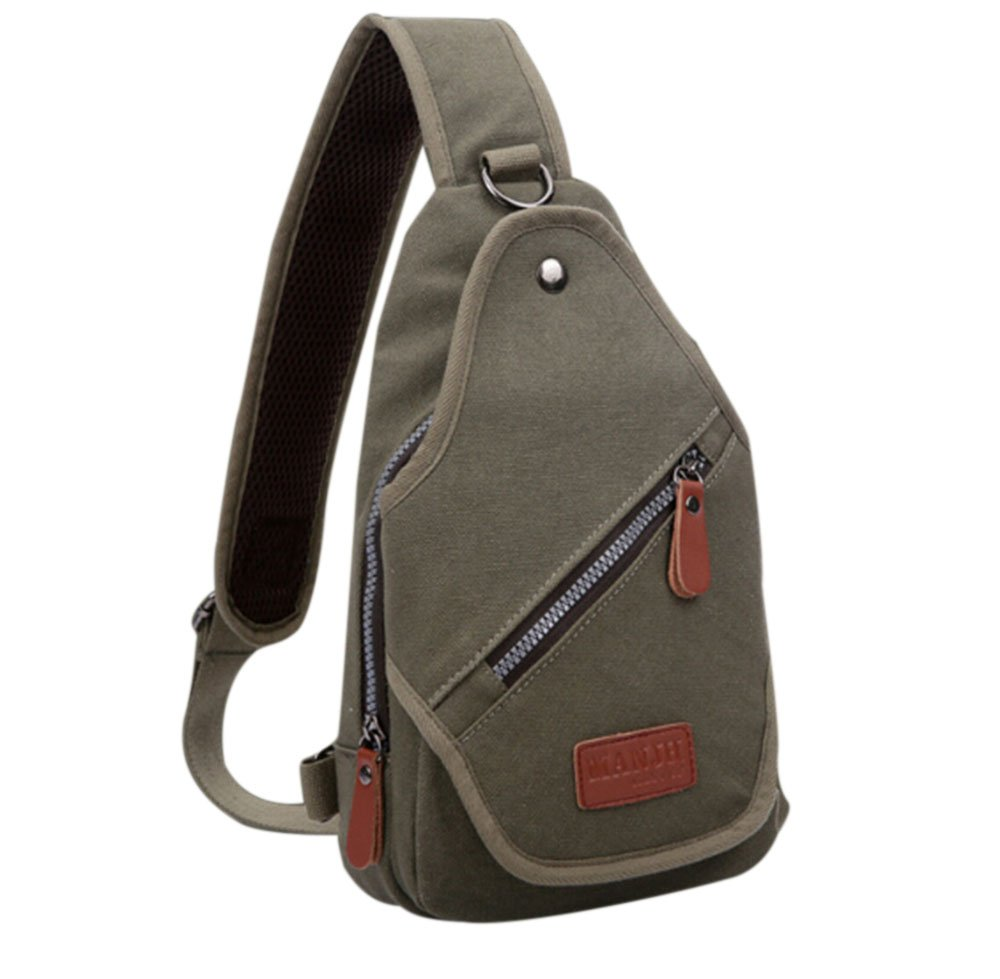 Fansela(TM) Cool Sports Casual Canvas Crossbody Sling Bag Chest Pack Army Green