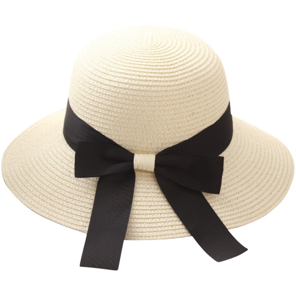 Lanzom Women Wide Brim Straw Panama Roll up Hat Fedora Beach Sun Hat UPF50+ (X-Beige)