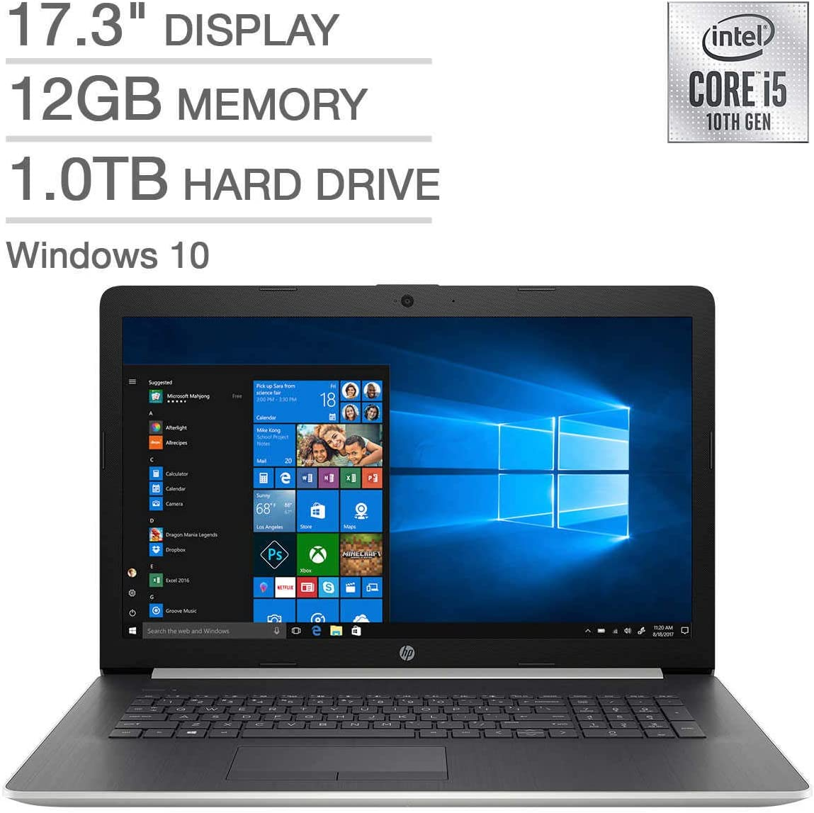 HP 17.3 Inch Laptop Computer 10th Gen Intel Core i5-1035G1 up to 3.6GHz, 12GB RAM, 1TB HDD, Intel Graphics, DVD, WiFi, Bluetooth, Windows 10 (Renewed)