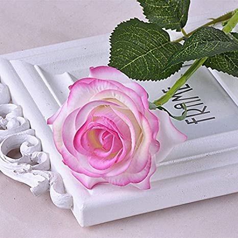 AOLVO Ramo de Rosas Artificiales de Aspecto Real para Boda, jardín, Fiesta, decoración