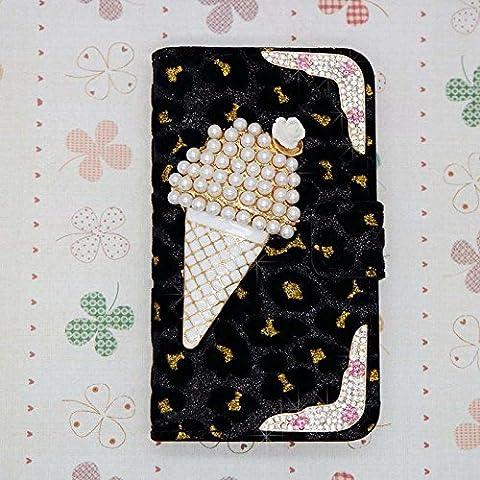 3D Luxury Bling Crystal Diamonds Wallet Crystal Leopard Leather Case Cover For smart Mobile Cell Phone (LG G G3 Vigor MINI (Lg G3 Vigor Leopard Phone Case)