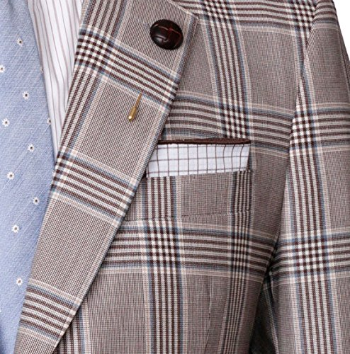 White, Brown and Blue Plaid Reverse Pocket Square Mens Pocket Square The Detailed Male by The Detailed Male (Image #2)