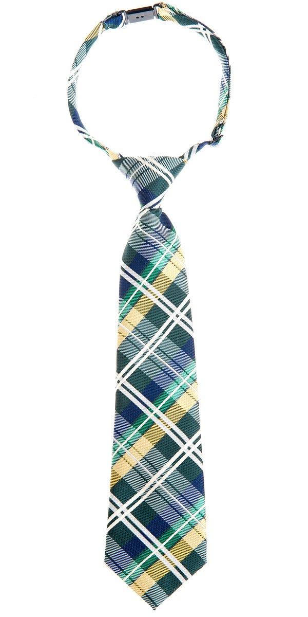 Retreez Elegant Tartan Check Woven Microfiber Pre-tied Boy's Tie - Dark Green, Yellow and Navy Blue - 24 months - 4 years