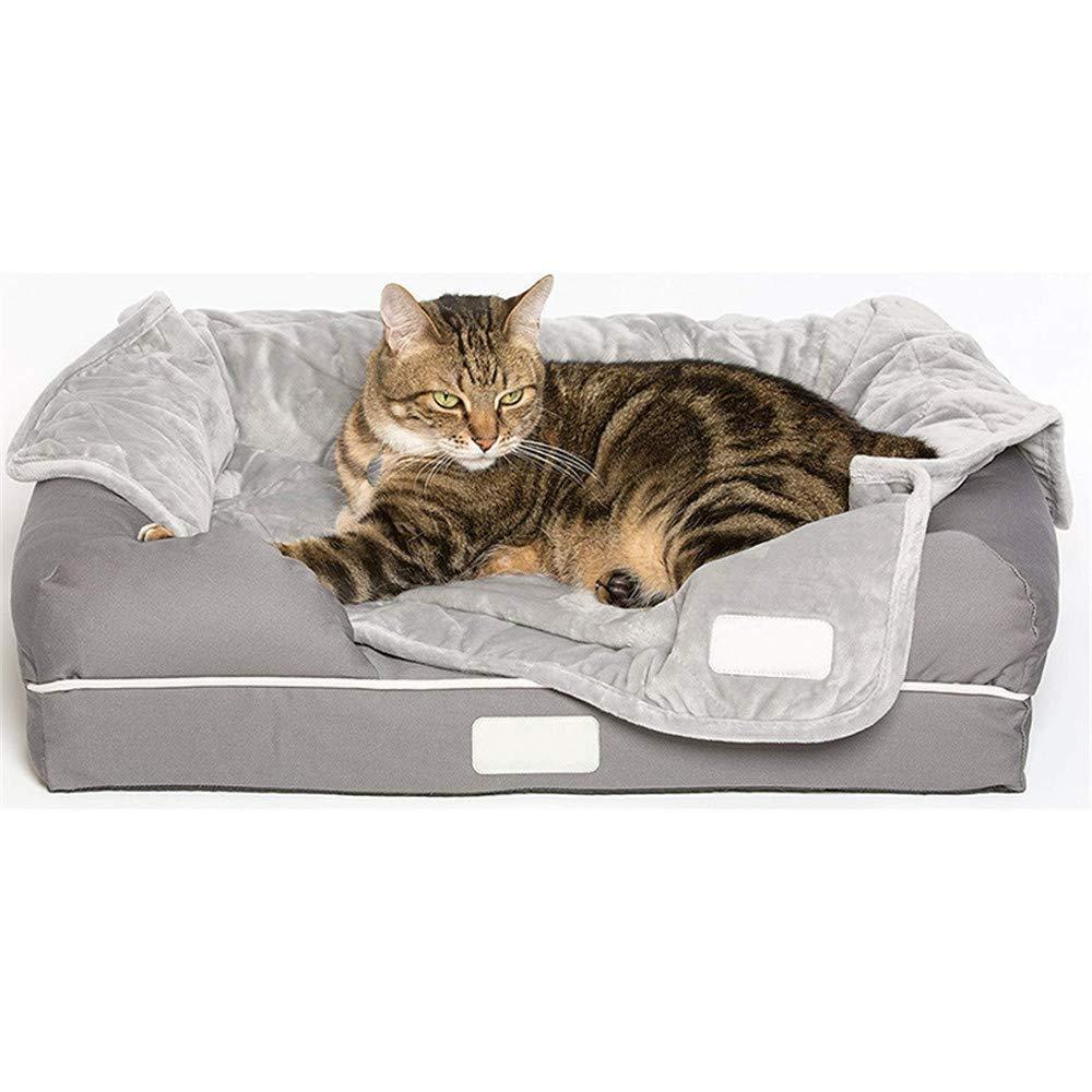 Grey (35.423.611.8in) Grey (35.423.611.8in) JFRI dog bed High-grade pet nest soft sofa sponge nest 40D human grade memory cotton predect dog spine