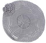 AN Womens Crochet Hats Dark Grey Beanie Beret Cap Knit Hat Flower Juniors Adults