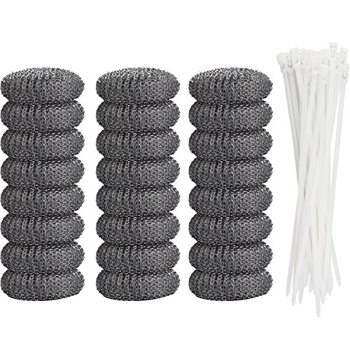 Aboat 24 Pieces Lint Traps Washing Machine Lint Trap Laundry Sink Drain Hose Screen Filter with 24 Pieces Cable Ties