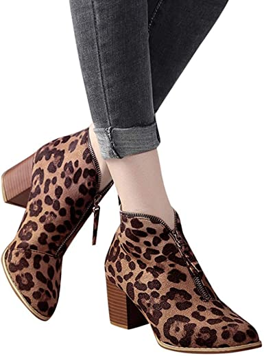 Women Ankle Booties Pointed Toe Leopard