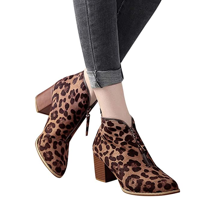 7689f8596c Women Ankle Booties Pointed Toe Leopard Print Chunky Heel Shoes Short Boots  by Lowprofile Brown