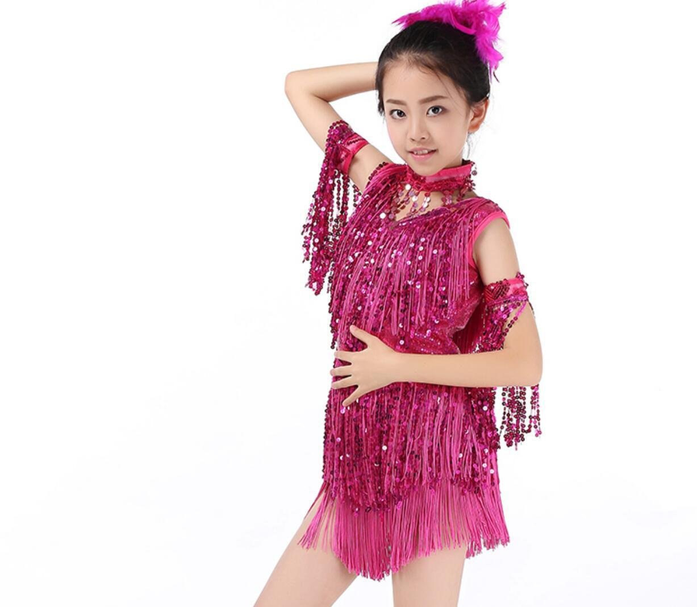 Rose rouge Filles Danse Latine Jupe Enfants Costume de Danse Latine Su Liu Danse Latine vêtements de compétition Jaune Rose Rouge Rouge   Bleu Noir L