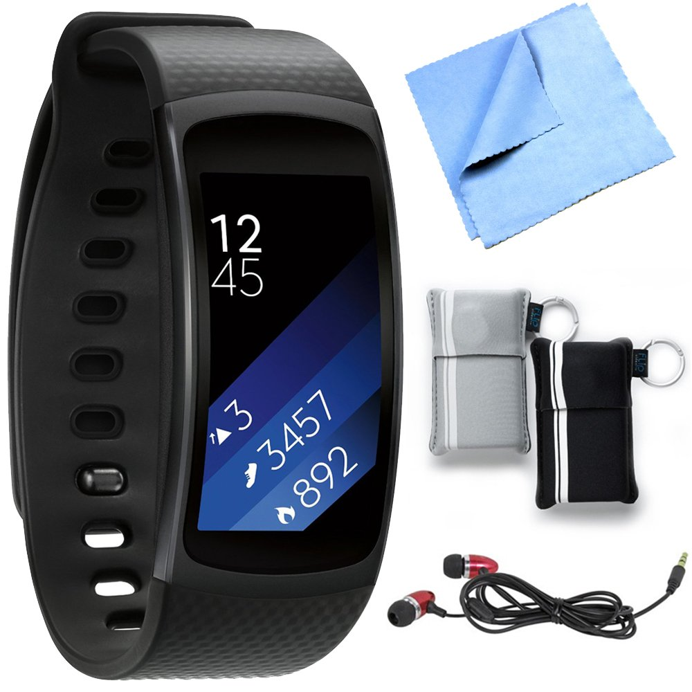 Samsung SM-R3600DANXAR Gear Fit2 Smartwatch with Small Band - Black Bundle includes Smartwatch w/ Small Band, Metal Ear Buds, Neoprene Pouch 2-Pack and Microfiber Cleaning Cloth
