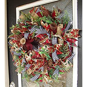 Designer Twist on Traditional Christmas Decor, Deco Mesh Front Door Wreath, Houndstooth Poinsettia Tartan Plaid Ribbons, Winter Decoration 109